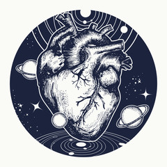 Heart in space tattoo. Symbol of love, philosophy, psychology, imagination, dream. Surreal heart t-shirt design. Anatomic heart among galaxies and planets