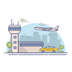 Building airport terminal and city yellow taxi cab a city skyline.Concept of design banner in linear flat style a vector.City urban landscape.The flying jet passenger plane.Taxi service car.Line art