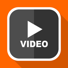 Video play vector icon. Flat design square internet gray button on orange background.