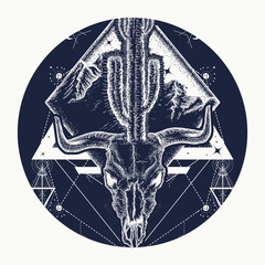 Bull skull, cactus, mountains, sacred geometry. Dream cather tattoo and t-shirt design. Psychodelic art
