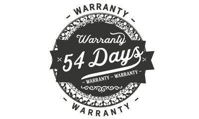 54 days warranty icon vintage rubber stamp guarantee