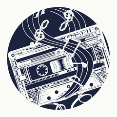 Audio cassette and music notes tattoo and t-shirt design. Old audio cassette and music notes, symbol of pop music, disco t-shirt design. Symbol of retro music, nostalgia, 80th and 90th