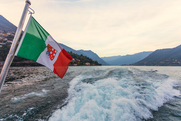 View of Como lake from inside the boat, Lombardia - Italy