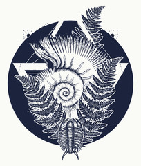 Nautilus shell prehistoric tattoo art. Trilobites, ammonite and fern tattoo. Ancient ammonite in the triangle t-shirt design. Ancient fossils, symbol of paleontology, science, education