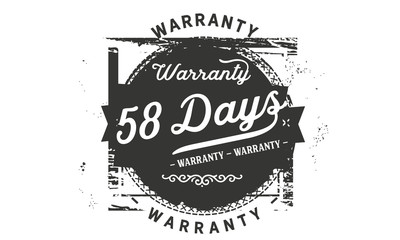 58 days warranty icon vintage rubber stamp guarantee