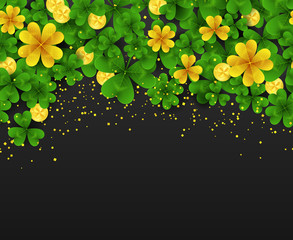 Saint Patrick Day horizontal seamless border with golden shimmer,green,gold four,three Leaf clovers and golden coins on black background. Party invitation template.Lucky symbol vector illustration.