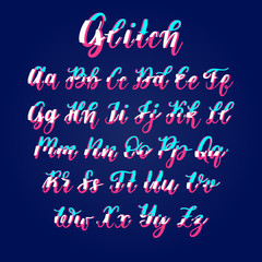 Font with glitch. Vector hand lettering alphabet with distortion. Calligraphy letters on blue background.