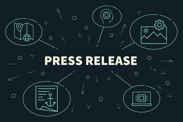 Conceptual business illustration with the words press release