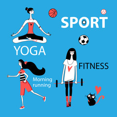Vector set of girl and sport