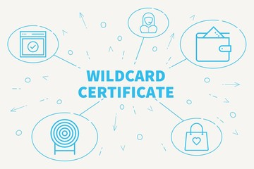 Conceptual business illustration with the words wildcard certificate