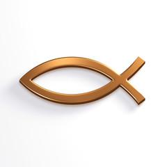Bronze Christ Fish . 3D Render Illustration