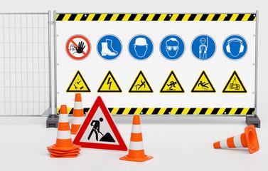 Gruppe von Pylone Pylonen Verkehrshütchen Leitkegeln mit Baustellenschild vor Mobilzaun Bauzaun mit Banner Sicherheitszeichen