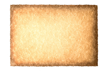 Vintage old grunge background texture paper scroll isolated on white. Brown burnt paper background.