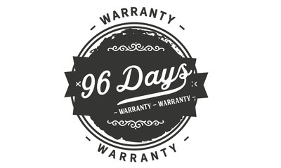 96 days warranty icon vintage rubber stamp guarantee
