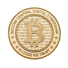 Golden Bitcoin isolated