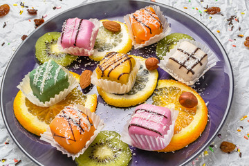 Homemade orange and lemon cookies, mix of citrus fruits