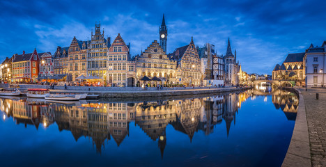 Twilight panorama of the city of Gent, Flanders, Belgium