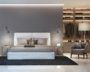 Modern grey and white bedroom with walk in closet front