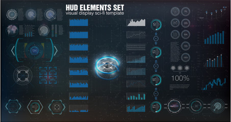 HUD UI. Abstract virtual graphic touch user interface. Infographic. Vector science abstract.  Vector illustration. Futuristic user interface. Sky-fi HUD. Vector eps10.