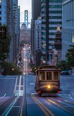 Canvas Prints San Francisco San Francisco Cable Car on California Street in twilight, California, USA