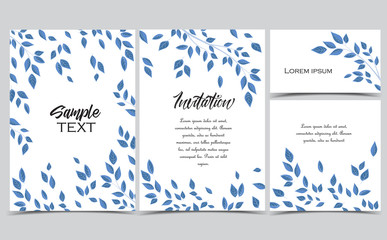 Vector illustration of leaves. Background with branches and leaves. Set of greeting cards