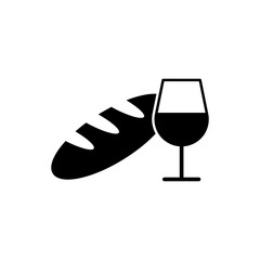 bread and wine vector black on white background