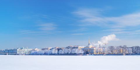 Winter panorama of Neva river, Saint-Petersburg, Russia