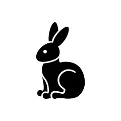 hare rabbit bunny silhouette black icon on white background