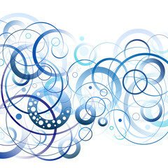 Blue and white circles abstract background