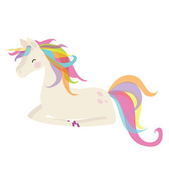 Cute unicorn vector cartoon illustration