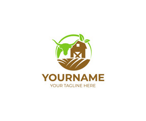 Bull and farm with fields logo template. Barn and cattle vector design. Agriculture illustration