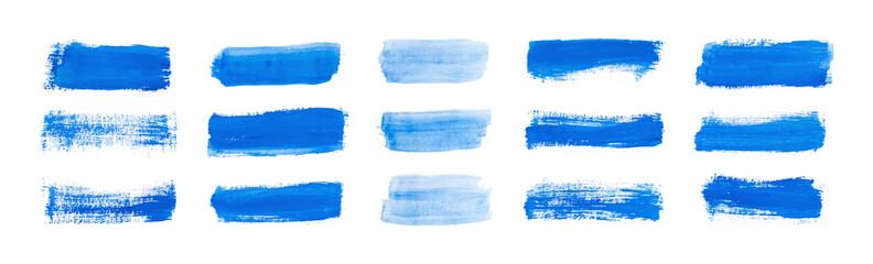 Fototapeta Set blue rectangle watercolor texture on the white background, vector ink, acrylic decoration.  obraz