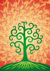The tree of life on a green hill. The formula of the universe. Vector graphics. Design object.