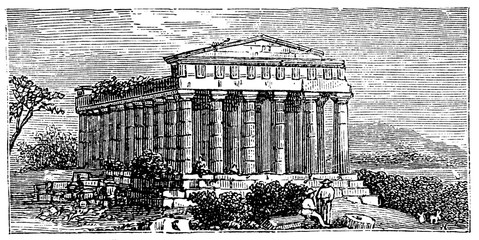 Wall Mural - victorian engraving of the Temple of Concord, Agrigento