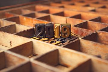 2019 written in wooden typeset letterpress, Happy New Year