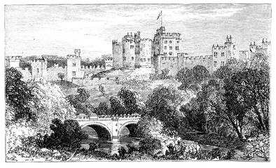 Wall Mural - victorian engraving of Alnwick Castle, UK