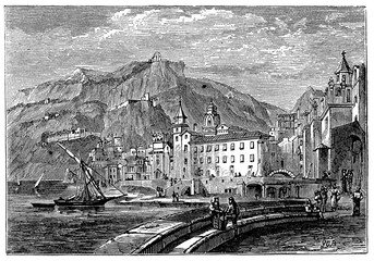 Fototapete - victorian engraving of Amalfi, Italy