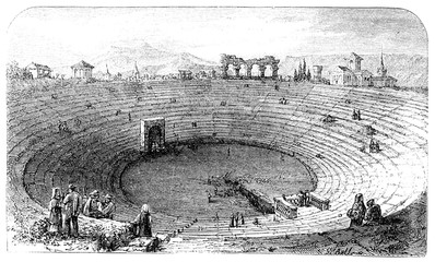Wall Mural - victorian engraving of the amphitheatre at Verona, Italy