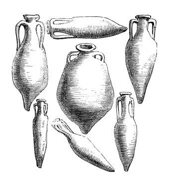 victorian engraving of ancient greek ad roman amphora