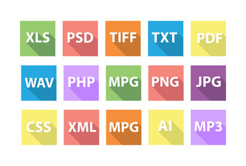 Set of Document File Formats with long shadows