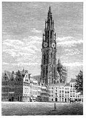 Fototapete - victorian engraving of Antwerp Cathedral