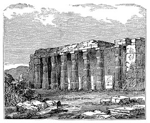 Wall Mural - victorian engraving of the Temple of Luxor, Thebes