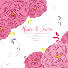 Pretty floral invitation with rose flowers painted in cartoon style. Congratulations on your birthday, invitation card. Flower pattern. Element for printing, design, creativity, scrapbooking.