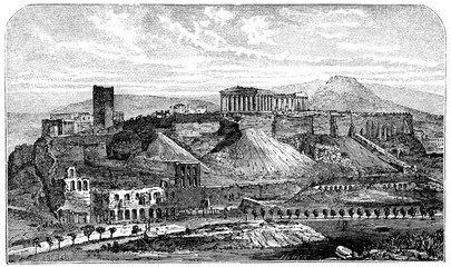 Wall Mural - victorian engraving of the Acropolis, Athens
