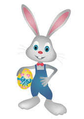 Easter bunny holding easter egg vector