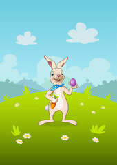 Easter bunny with egg and carrot - landscape cartoon nature background