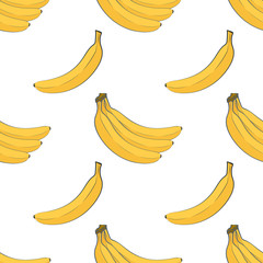 Seamless pattern of ripe yellow bananas