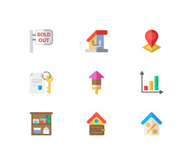 Real estate icons set. Sold out and real estate icons with storage, change of housing and location. Set of elements including position for web app logo UI design.