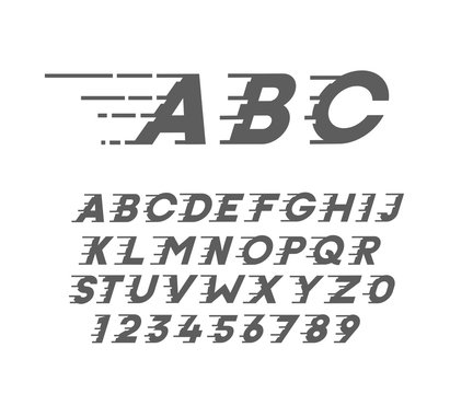 Custom font in italic style with motion elements. Speed highly costumized alphabet. Vector typography.