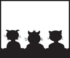 Three cartoon cat buddies in a theater getting ready to watch a movie